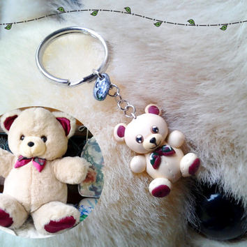 Custom Cute Teddy Bear Keychain -- Made to Order, Handmade Polymer Clay, Heartfelt Keepsake Accessory, Valentine's Day & Christmas Gift Idea