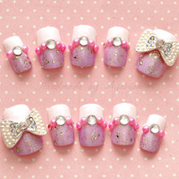 3D nails, deco nails, hime gyaru, bling, glitter, lavender nails, white french tips, pearls and gems