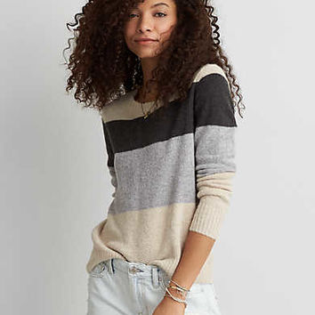AEO Striped Crew Sweater, Oatmeal