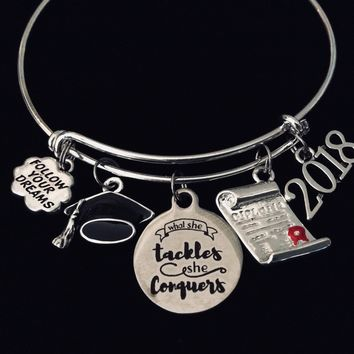 Graduation Jewelry Adjustable Bracelet 2018 Expandable Bangle What she Tackles She Conquers Diploma One Size Fits All Gift