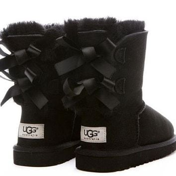 """""""UGG"""" Fashion Winter Women Cute Bowknot Flat Warm Snow Ankle Boots"""