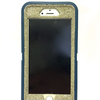 iPhone 6 Plus OtterBox Defender Series Case Glitter Cute Sparkly Bling Defender Series Custom Case  Deep water blue / white gold