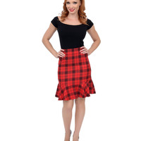 Red & Black High Waisted Plaid Peplum Wiggle Skirt
