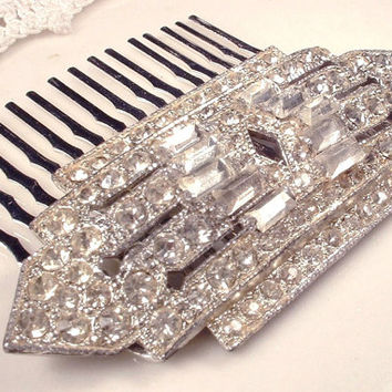 Original Art Deco Bridal Hair Comb, 1920s Vintage Pave Rhinestone Heirloom Brooch to OOAK Vintage Head Piece, Great Gatsby Hair Accessory