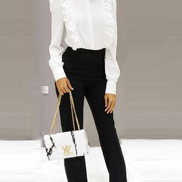 New White Patchwork Ruffle Band Collar Long Sleeve Fancy Office Worker Blouse