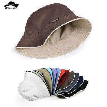 Plain bucket hats men reversible two sides can wear 100% cotton sun bob cap comfortable fisherman hat