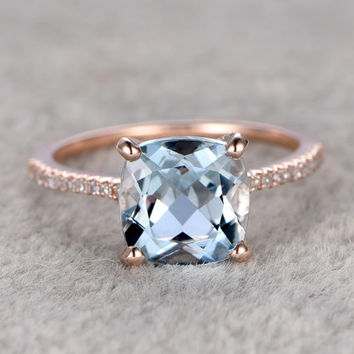 2.3ct Cushion Natural Aquamarine Ring!Diamond Engagement ring Rose gold,Bridal,Ball prong,Blue Stone Gemstone Promise Ring,wedding band