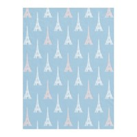Paris Eiffel Tower Pink Blue Fleece Blanket