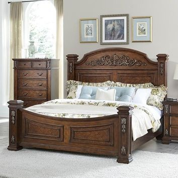 Homelegance Donata Falls Poster Bed in Warm Brown