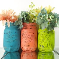 Bright, Colorful Painted Mason Jars - Tabletop Decor - Mason Jar Vase Set -- Rustic, Home Decor