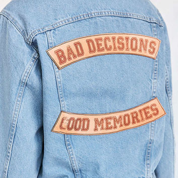 US By Understated Leather Slogan Denim Trucker Jacket - Urban Outfitters