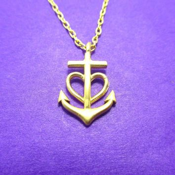 Tiny Heart Shaped Anchor Charm Nautical Themed Necklace in Gold | DOTOLY