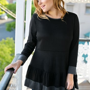 Black Falbala-Trim Peplum Tunic
