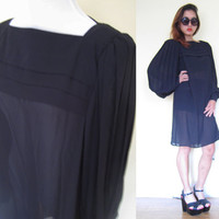 Vintage 80's sheer big puff sleeves oversized pleated shift boxy knee length dress Leslie Fay plus size