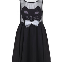 Mesh Sleeveless Cat Bow Embroidered A-Line Pleated Mini Dress