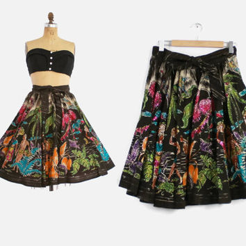 50s MEXICAN CIRCLE SKIRT / 1950s Hand Painted Sequin Trimmed Full Rockabilly Skirt osfm