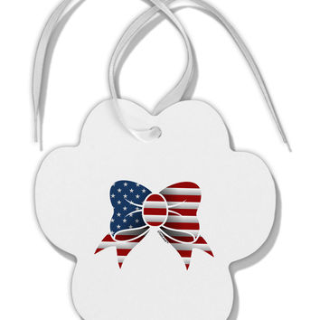 Patriotic Bow Paw Print Shaped Ornament