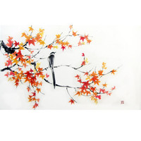 Japanese Ink Painting Suibokuga Sumi-e Asian art Flower and Birds painting Rice paper Large 24x39' Orange Red- Magpie on Maple branch
