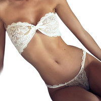 New Summer Sexy Lingerie Bras And Panty Set Bow Strapless Lace Bandage Transparent Brassiere Crochet Tank Top Women Clothing Set