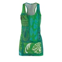 Polynesian Green Tapa Design Womens Cut  Sew Racerback Dress