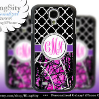Black Monogram Galaxy S4 case S5 Real Tree Camo Purple Hot Pink Muddy Quatrefoil Samsung Galaxy S3 Case Note 2 3 Cover Country Girl