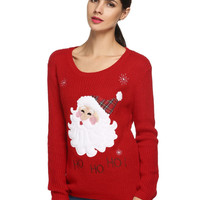 Black Red Christmas Sweater Women knitted Sweaters And Pullovers Reindeer Snowman Long Sleeve Autumn Winter Jumper Pull Femme