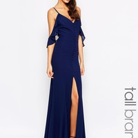 Jarlo Tall Button Through Maxi Dress With Frill Shoulder Detail
