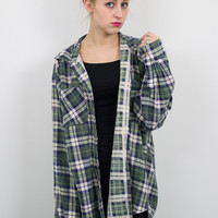 Vintage Navy and Green Plaid Flannel Shirt