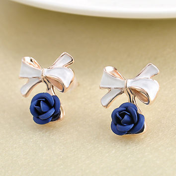 LNRRABC Fashion  6 Colors Women Charming Rose Flower Ear Studs Bowknot Earring Jewelry Christmas Gift brincos para as mulheres