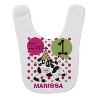 Personalized Pink Cow 1st Birthday Bib