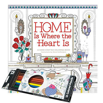 Adult Coloring Book Combo Pack - Home Is Where the Heart Is Book with set of 12 Colored Pencils