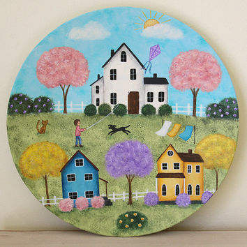Spring Folk Art Plate - MADE TO ORDER - Hand painted primitive Americana country scene, blooming trees, saltbox houses, pastel colors