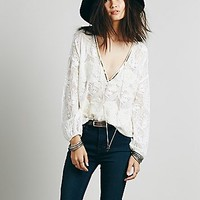 Free People Womens Embellished Deep V Peasant Top - Ivory