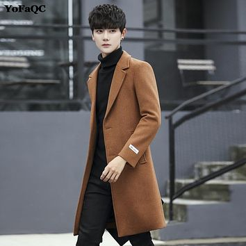 YoFaQC 2017 New warm wool coat men wool & blends men pea coat slim fit male manteau jacket coat clothing plus size 3XL