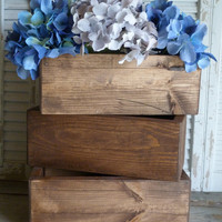 Rectangular Box, Wooden Box, Storage Box, Cottage Chic Decor, Wedding Decor, Wooden Planter Box