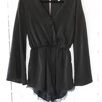 Black Lace Trim Bell Sleeve Satin Romper