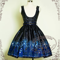 """Time Lord"" Cyber Gothic Underbust Dress/JSK*2colors - fanplusfriend"