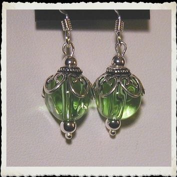 Sterling Silver Filigree and Green Czech Glass Earrings