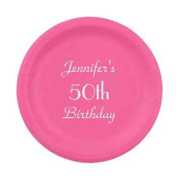 Hot Pink Paper Plates, 50th Birthday Party Paper Plate
