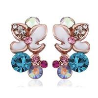 MLOVES Women's Classical Bright Diamanted Flowers Ear Cuffs