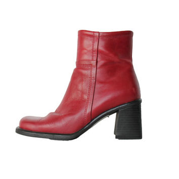 90s Red Leather Chunky Boots Boho Hipster Goth Clothing Shoes Womens Size 6 1/2