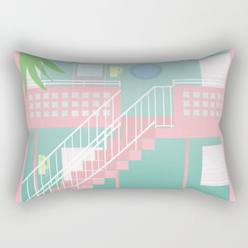 Motel Paradise Rectangular Pillow by Claudia Duarte