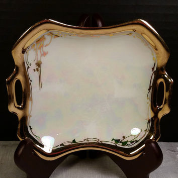 Tillowitz Porcelain double handled bowl Vintage Germany Porcelain Gold Trim Opalescent Trinket Dish Square Jewelry Tray Iridescent Gilding