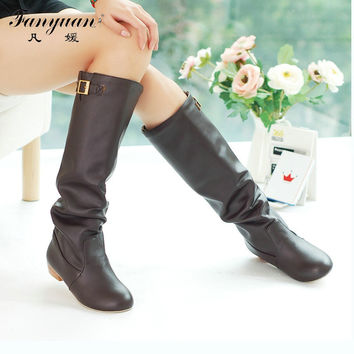 2016 Women Knee High Boots Vintage Low Thick Heel Spring Autumn Shoes Round Toe Less Platform Motorcycle Boots Big Size 34-43