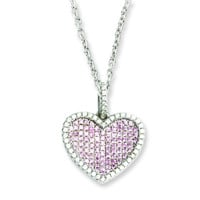 Sterling Silver & CZ Brilliant Embers Heart Necklace QMP809