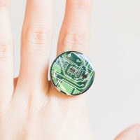 Green round ring - circuit board ring - computer jewelry - geekery - statement ring