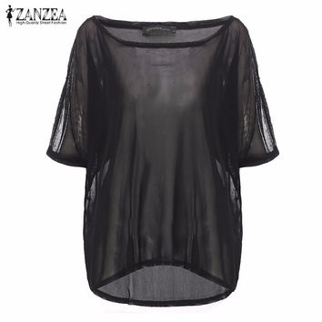 Women Blouses 2017 Blusas Femininas Summer Sexy O Neck Solid Shirts Fishnet Mesh Hollow Out Casual T