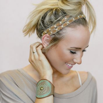 Jeweled Gypsy Headband - Gold