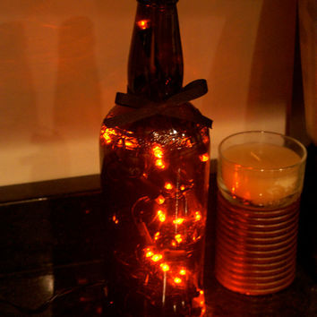Bottle Lights Orange LED Lights in Upcycled Brown Glass Bottle