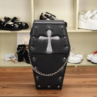 Women Backpacks Lolita Bag Coffin Shape Pack Cross Metal Rivet Decoration Goth Punk Black Bags